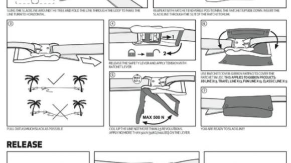 Instrucciones para montar un slackline de Gibbon Slacklines